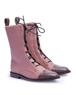 Dusty Pink Brogue Boots