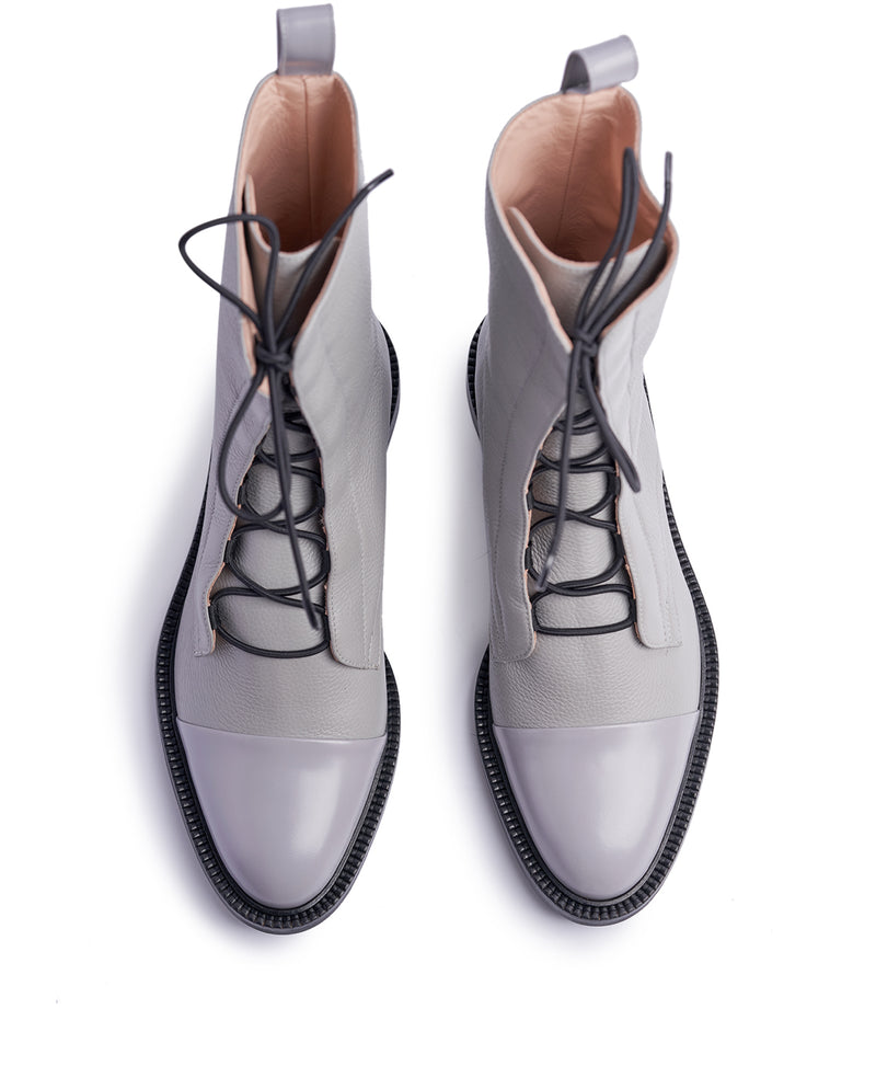 Pale Grey Brogue Boots