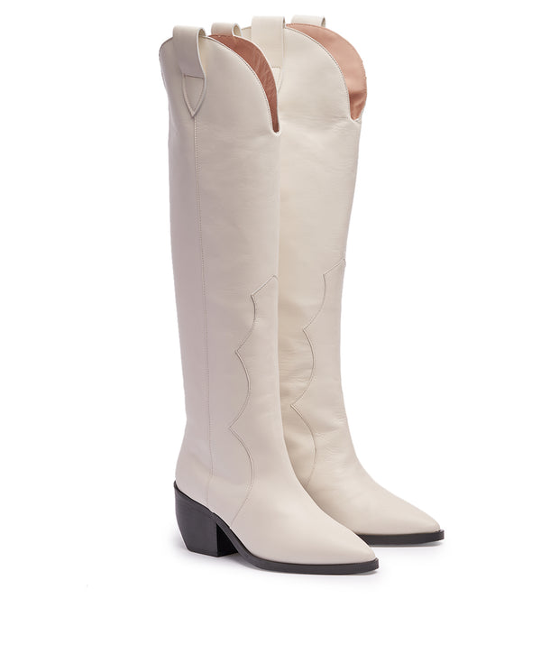 Simply White Western Boots
