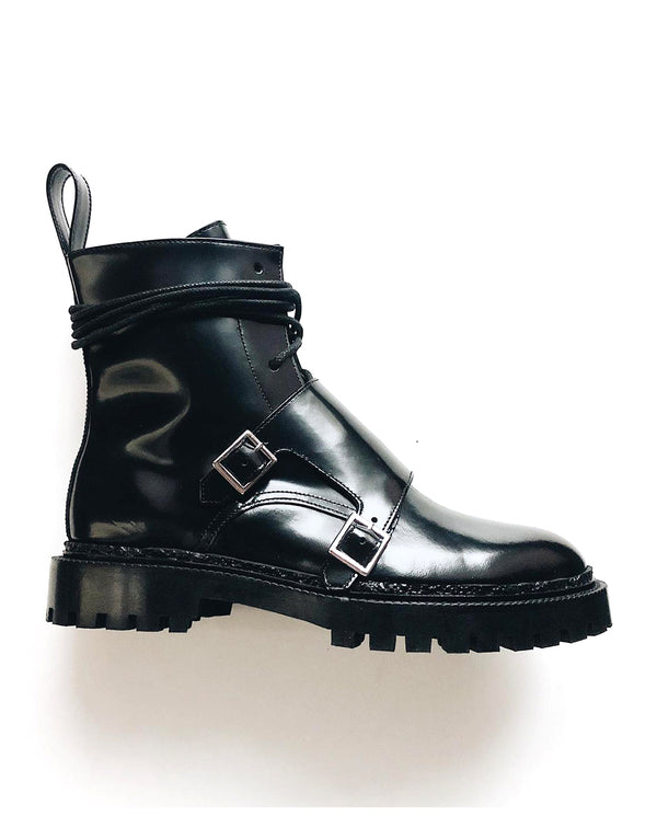 Lace-up Monk Boots with Buckles