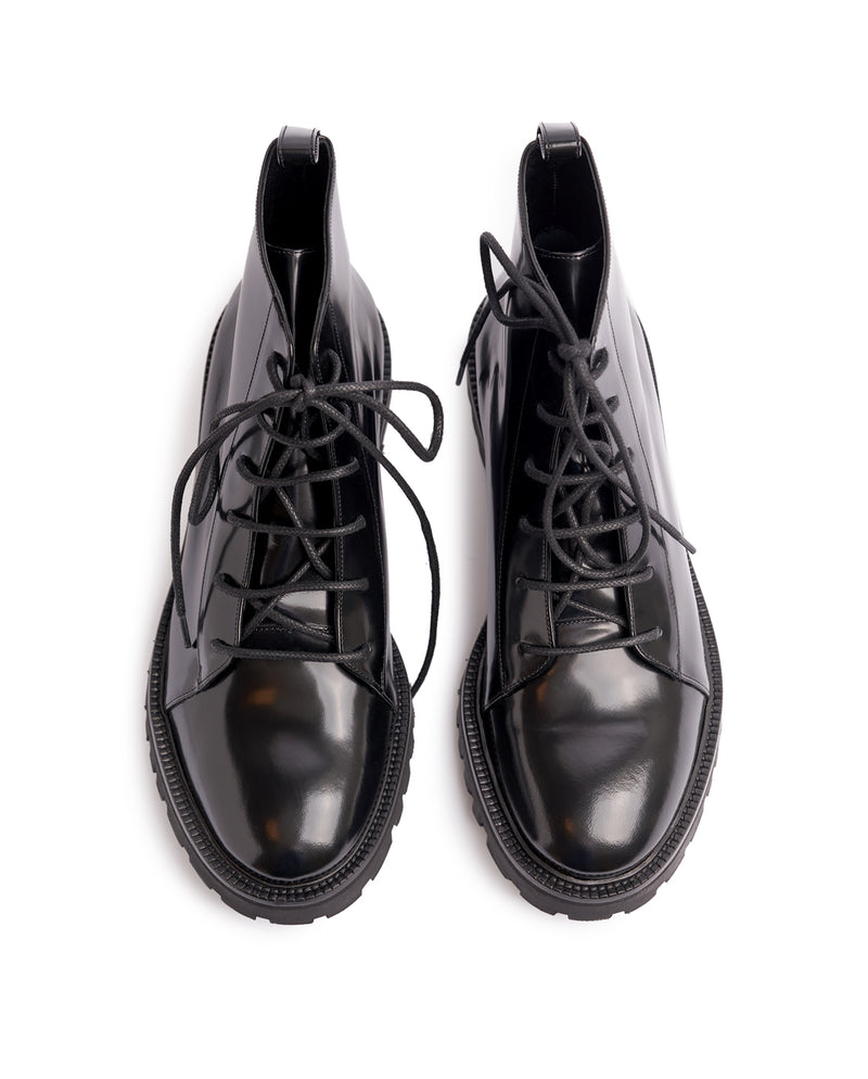 Glossed leather Lace-up Boots