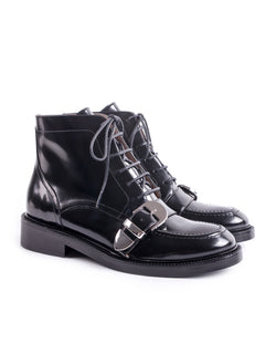 BUCKLED BLACK LACE UP ANKLE BOOTS – I N