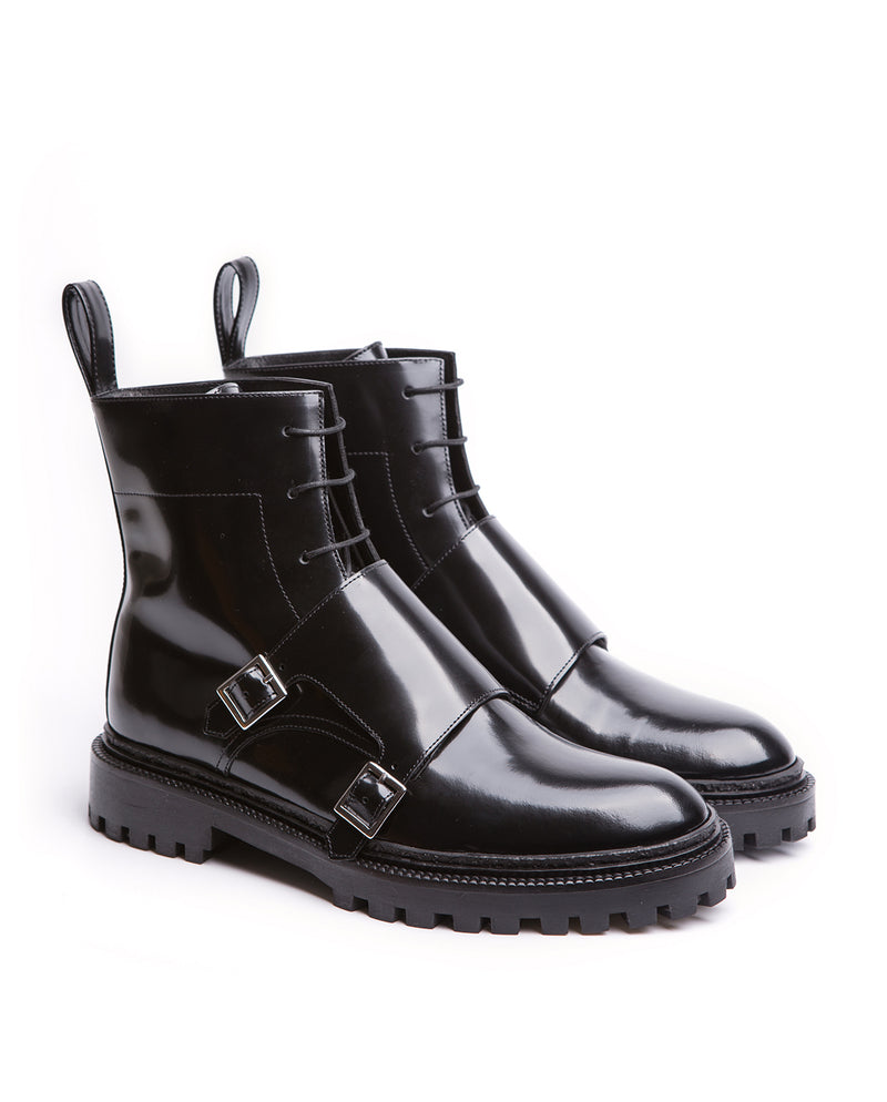 Lace-up Monk Boots with Buckles - I N C H 2
