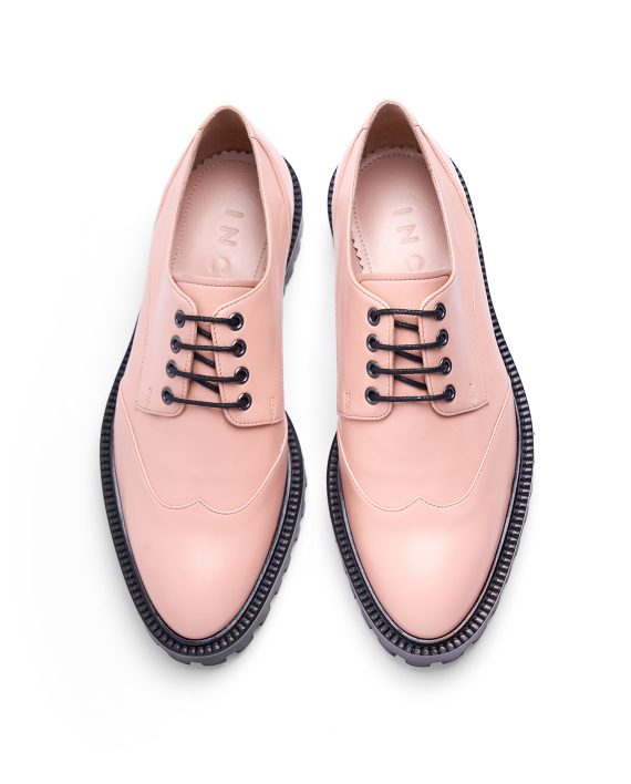 Pale Pink Derby Solid Brogues - I N C H 2