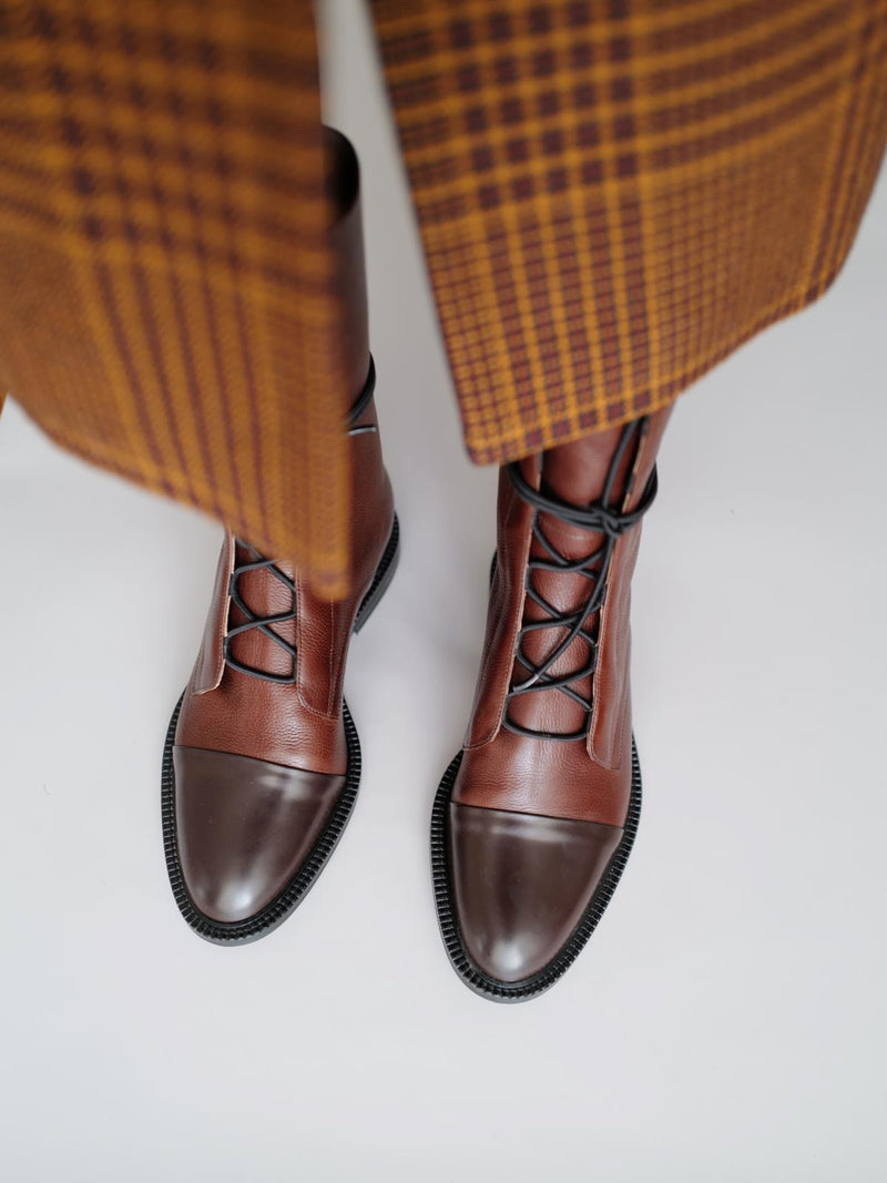 Brown Leather Brogue Boots - I N C H 2