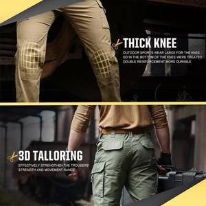 Tactical Pants Waterproof Ripstop Outdoor Cargo Work Pants with Elastic Waist