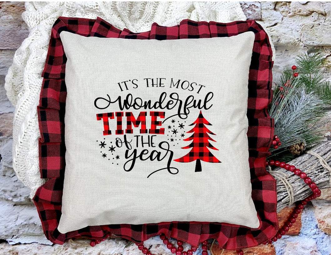 Most Wonderful | Pillow Cover | Buffalo Plaid | The Good Life Creations
