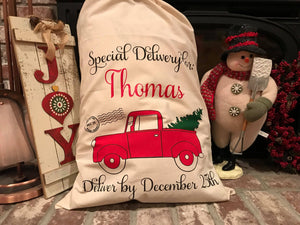 Red Truck | Santa Sack | Christmas | Personalized | The Good Life Creations