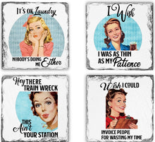 Load image into Gallery viewer, Coaster | I Wish I Could Invoice | Slate | Retro | The Good Life Creations