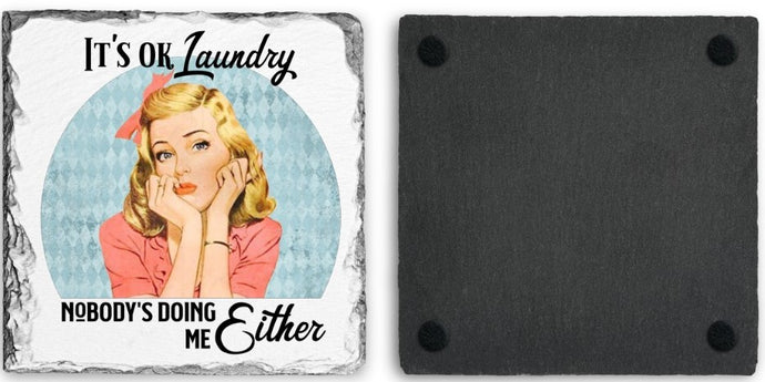 Coaster | It's Ok Laundry | Slate | Retro | The Good Life Creations