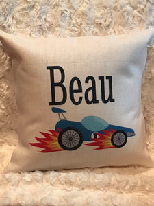 Race Car | Pillow | Monogrammed | The Good Life Creations
