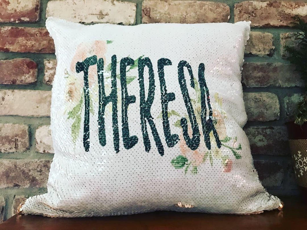 Sequin Pillow | Monogrammed | The Good Life Creations