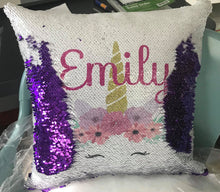 Load image into Gallery viewer, Sequin Pillow | Unicorn | Monogram | The Good Life Creations