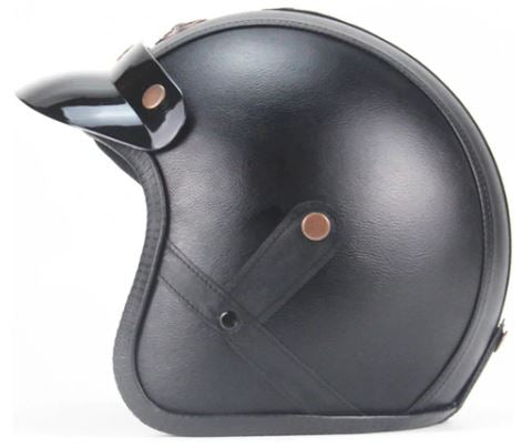 Light Eagle Helmet - Black leather - Biker Apparel and Gears for harley & caferacer riders