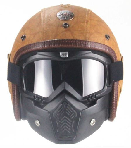 Full Eagle Helmet - Brown Leather - Biker Apparel and Gears for harley & caferacer riders