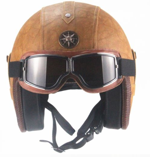 Eagle Helmet - Brown Leather - Biker Apparel and Gears for harley & caferacer riders