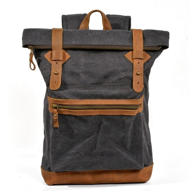 Empire Biker Canvas Backpack - Biker Apparel and Gears for harley & caferacer riders