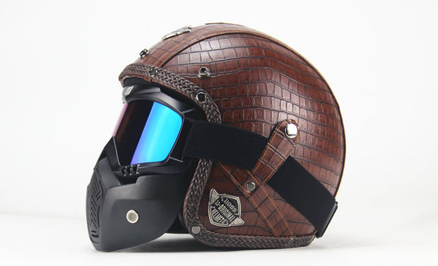 Full Eagle Helmet - Scaled Brown - Biker Apparel and Gears for harley & caferacer riders