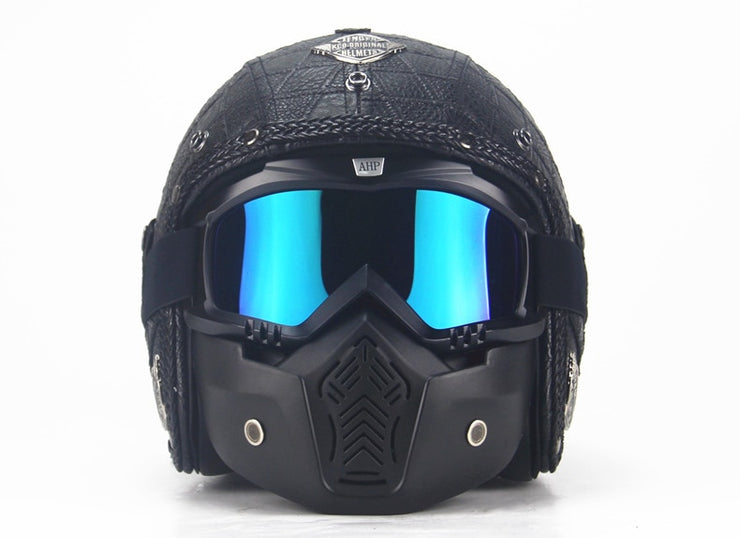 Full Eagle Helmet - Check Black - Biker Apparel and Gears for harley & caferacer riders