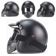 Full Eagle Helmet - Black leather - Biker Apparel and Gears for harley & caferacer riders