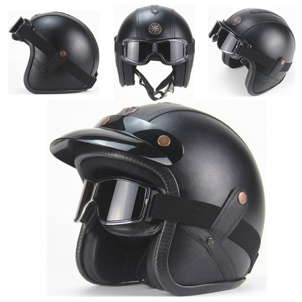 Eagle Helmet - Black Leather - Biker Apparel and Gears for harley & caferacer riders
