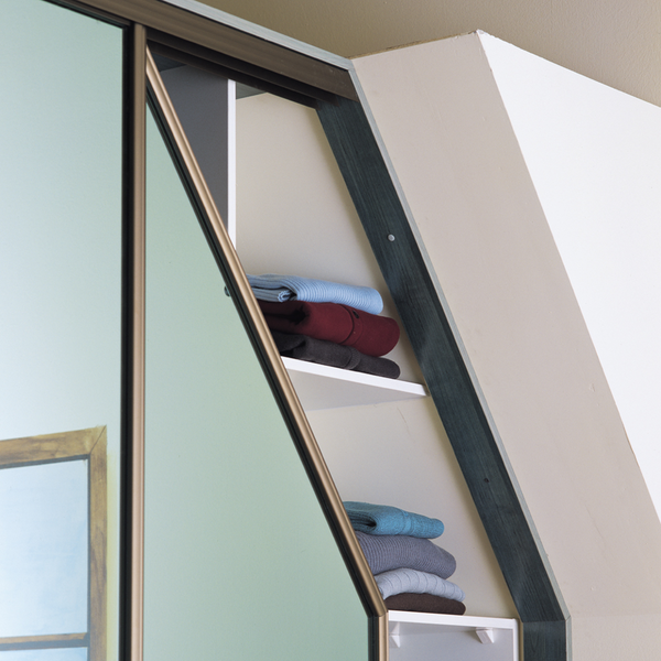 Maximise the space around sloped ceilings with angled sliding doors