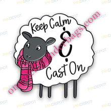 "Load image into Gallery viewer, ""Keep Calm & Cast On"" 1"" Enamel Sheep Pin"