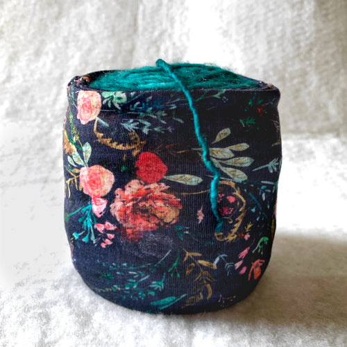 Navy Linen Floral Sheep Squeezer