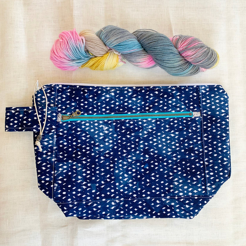 Indigo Shibori Twill Project Bag