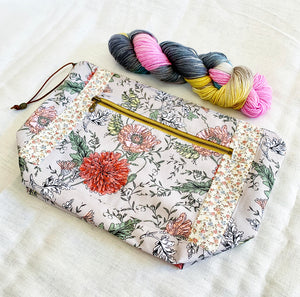 Floral Twill Project Bag