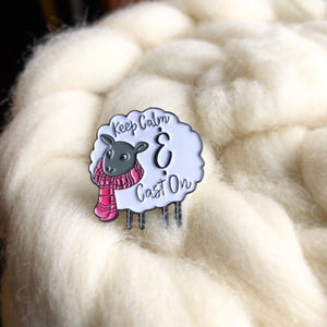 """Keep Calm & Cast On"" 1"" Enamel Sheep Pin"