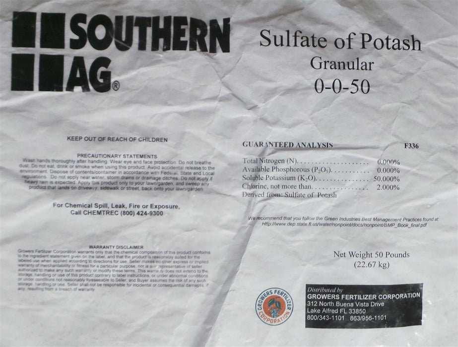Sulfate of Potash 0-0-50 Granular Fertilizer - 50 Lbs.
