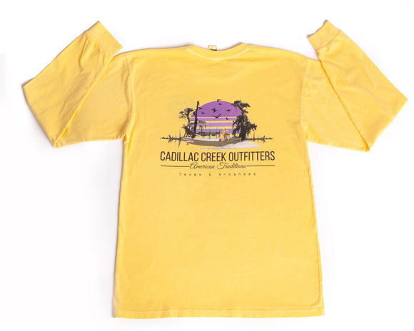 American Traditions Long Sleeve Tee - Lemon - cadillaccreek.com