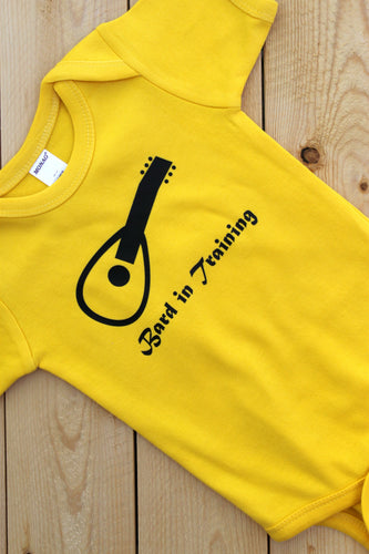 Bard in Training Yellow Infant Bodysuit/ Dungeons and Dragons Baby Clothes/ RPG Kids/ Gamer Parents/ Baby Shower Gift/ Nerdy Baby