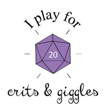 I Play for Crits and Giggles Infant Onesie/ Dungeons and Dragons Baby Outfit/ Purple d20/ Baby Shower Gift