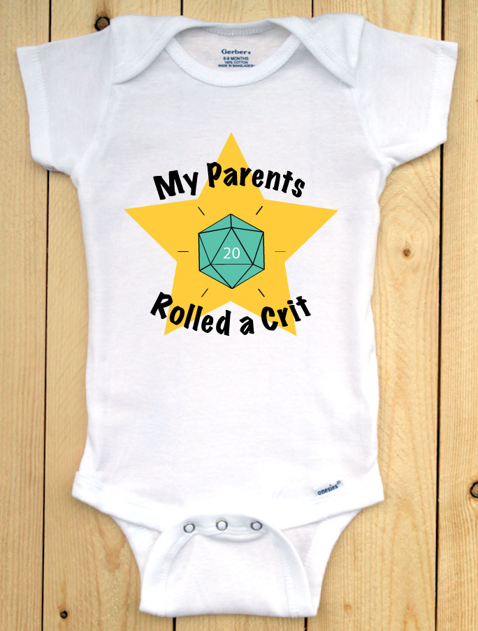 Rolled a Crit TEAL DICE Infant Onesie/ Dungeons and Dragons Baby Outfit