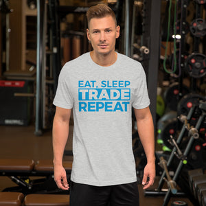 Eat, Sleep, Trade (Blue) - Short-Sleeve T-Shirt
