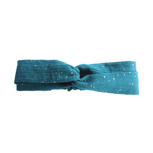 Bandeau en double gaze bleu canard made in France Atelier Madeleine