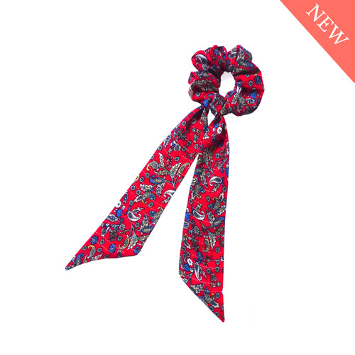 Chouchou foulard rouge imprimé made in France Atelier Madeleine