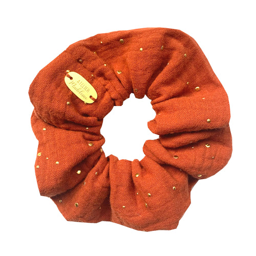 Chouchou en double gaze orange brique Atelier Madeleine made in France
