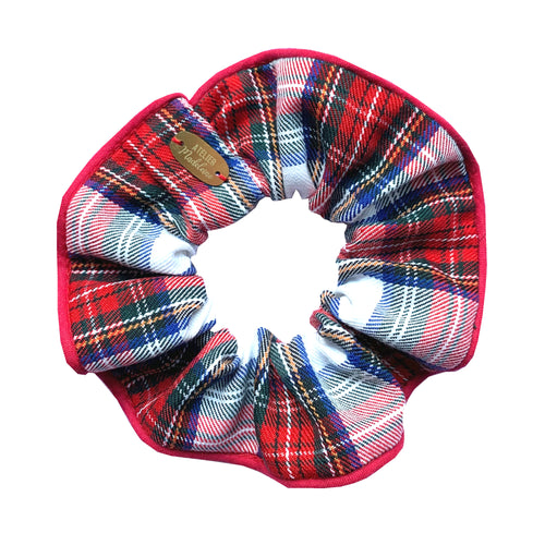 Chouchou imprimé tartan rouge Atelier Madeleine made in France