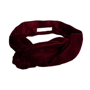 Bandeau en velours bordeaux modulable made in France Atelier Madeleine