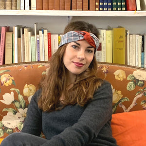 Headband réversible imprimé carreaux modulable Atelier Madeleine made in France