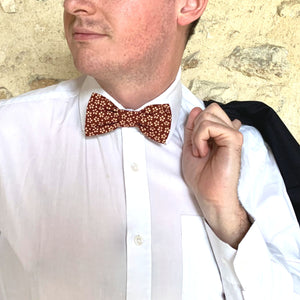 Noeud papillon myosotis bordeaux made in France Atelier Madeleine