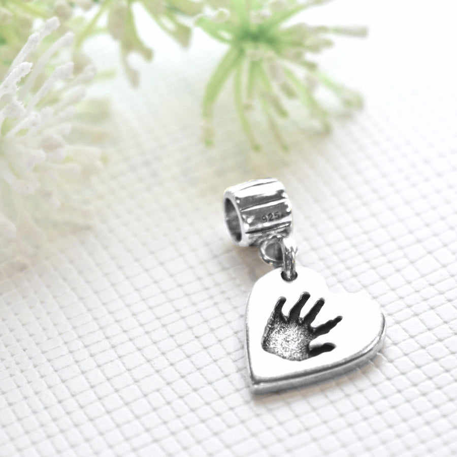 Double sided handprint or footprint charm on a carrier-Memory Treasures UK