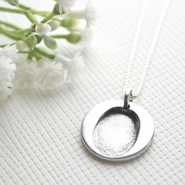 Double sided pendant on fine silver link chain (drawing and fingerprint)-Memory Treasures UK