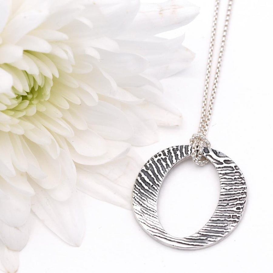 Eternity Pendant on Fine Silver Link Necklace-Memory Treasures UK