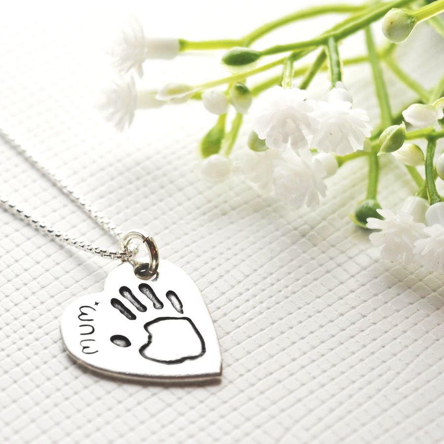 Handprint or Footprint Pendant on Fine Silver Link Chain-Memory Treasures UK