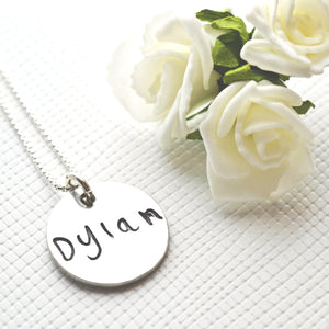Original Drawings & Handwriting Pendant on Fine Silver Link Chain-Memory Treasures UK