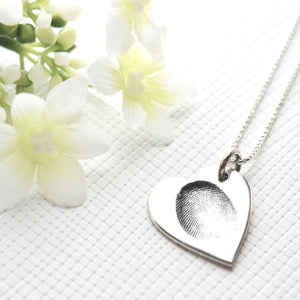 Original Fingerprint Pendant on Fine Silver Link Chain-Memory Treasures UK
